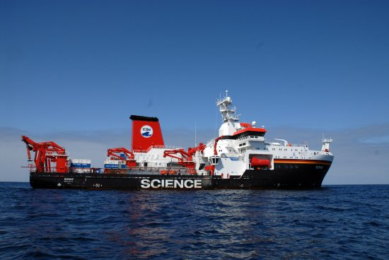 RV SONNE on cruise SO242/1 in the DISCOL-area off Peru.