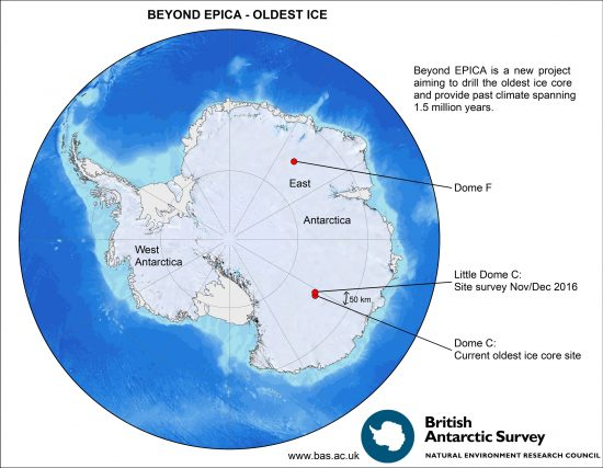 Regions where scientists form the BE-OI consortium search for the oldest ice on Earth: Dome C and Dome F in Antartica