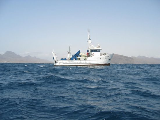 RV Islandia is a small fishing vessel for pelagic and bottom trawls, built in 1993 in Iceland, and later donated to the Cape Verdean Government. It is now under INDP's responsibility. Since the beginning of Cape Verde Ocean Observatory (CVOO) the ship has been converted from a fishing vessel to a multidisciplinary research vessel.