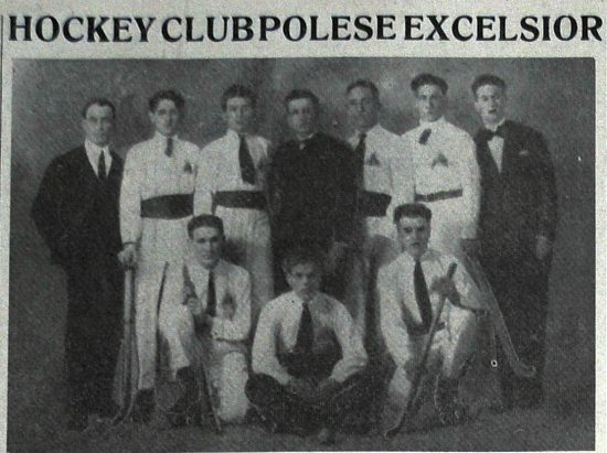 Ludovico Mares (second from left) as a member of champion of hockey and roller skating club, Italia 1922