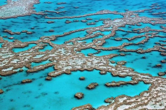 An aerial view of the Great Barrier Reef, Australia