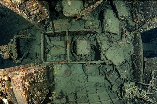 Radio cabin  inside the fuselage of the  B17 Bomber Flying fortress, sank on the 6 November 1944. 150m from the Cape of Polivalo on the southern coast of Vis, at the exit of Rukavac. Vis Island, Croatia, Adriatic Sea, Mediterranean