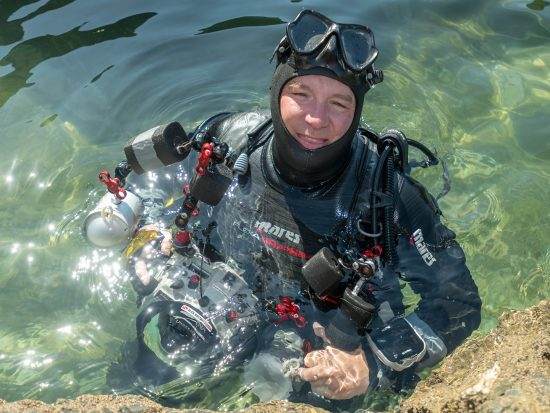 Underwater Photographer Alex Mustard post dive BIO photos for Mares. Falmouth, Cornwall, England, United Kingdom. English Channel, North East Atlantic Ocean.
